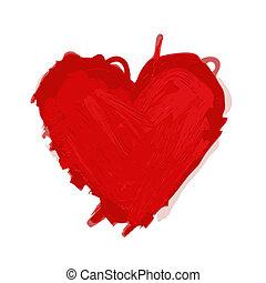 szív, skicc, tervezés, -e, piros