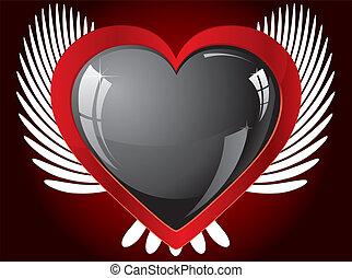 szív, szárnyas, ábra, vektor, fekete, fénylik