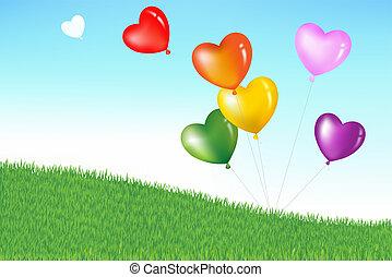 szív, színes, alakít, léggömb