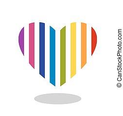 szív, színes, csepp, elszigetelt, csíkos, shadow., ikon