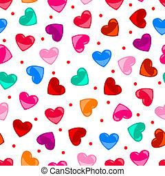 szív, színes, motívum, felett, seamless, alakít, fekete, móka