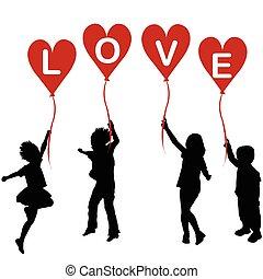 szív, szó, körvonal, szeret, léggömb, gyerekek