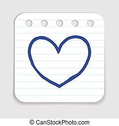 szív, szórakozottan firkálgat, ikon
