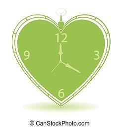 szív, szüret, alakít, vektor, óra
