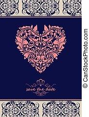 szív, szüret, meghívás, alakít, választékos, virágos, ibolya
