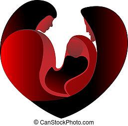 szív, szeret, család, nagy