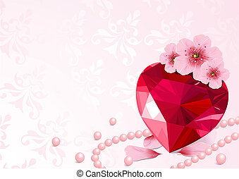 szív, szeret, cseresznye virágzik