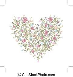 szív, szeret, csokor, -e, alakít, floral tervezés