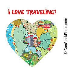 szív, szeret, furcsa, utazás, térkép, kártya