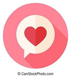 szív, szeret, hosszú, beszéd, karika, buborék, árnyék, ikon