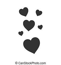 szív, szeret, ikon, szeret, lakás