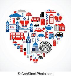 szív, szeret, ikonok, sok, -, vektor, london