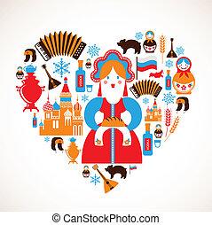 szív, szeret, ikonok, -, vektor, oroszország