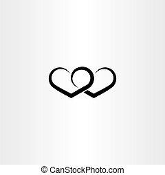 szív, szeret, jelkép, aláír, fekete, kedves, ikon