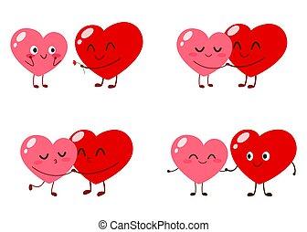 szív, szeret, karikatúra, csinos, betűk