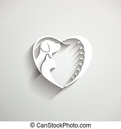 szív, szeret, kutya, ábra, macska, vektor