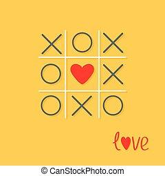 szív, szeret, lábujj, lakás, kereszt, sárga cégtábla, játék, tervezés, piros háttér, tac, megjelöl, kártya, arcrángatózás