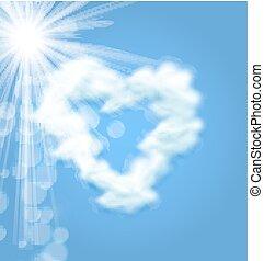 szív, szeret, nap, jelkép, alakít, pelyhes felhő