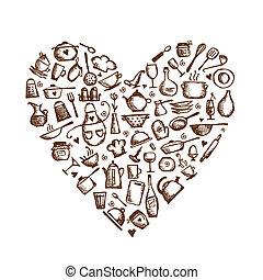 szív, szeret, skicc, cooking!, felszerelés, alakít, tervezés, -e, konyha