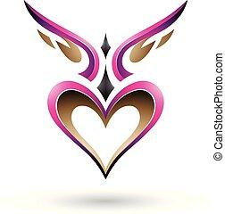 szív, szeret, szárnyas, ábra, madár, vektor, árnyék, fukszin
