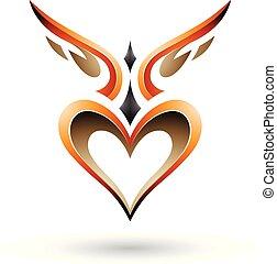 szív, szeret, szárnyas, ábra, vektor, narancs, árnyék, madár