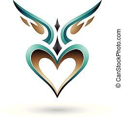 szív, szeret, szárnyas, ábra, vektor, perzsa, zöld, árnyék, madár