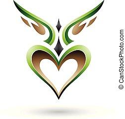 szív, szeret, szárnyas, ábra, vektor, zöld, árnyék, madár