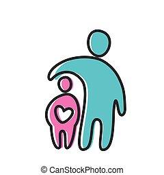 szív, szeret, szülő, ikon