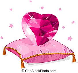 szív, szeret, vánkos, rózsaszínű