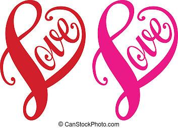 szív, szeret, vektor, piros, tervezés