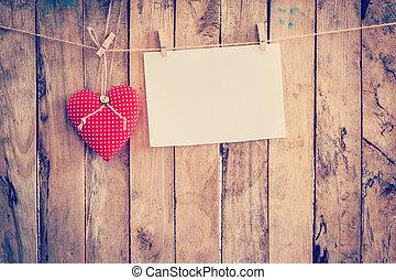 szív, szerkezet, erdő, ruhaszárító kötél, space., dolgozat, háttér, függő