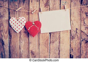 szív, szerkezet, ruhaszárító kötél, space., két, dolgozat, erdő, háttér, függő