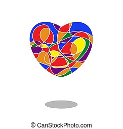szív, szivárvány, festett, jelkép, lobogó, elszigetelt, lgbt, befest, white., mózesi