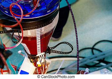 szív, szoba, vér, sebészet, tüdő, berendezés, keringés, működtető, gép