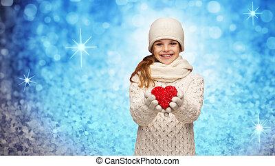 szív, tél, kicsi, leány, piros felöltöztet