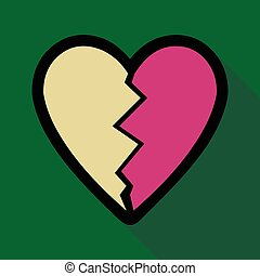 szív törött, ikon, árnyék, lakás