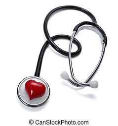 szív, törődik, szerszám, egészség, orvosság, sztetoszkóp
