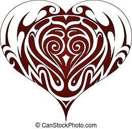szív, törzsi rajzóra, alakít, tetovál