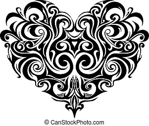 szív, törzsi, tetovál