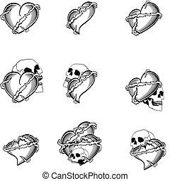 szív, tetovál, koponya, szulák