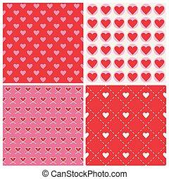 szív, valentine's, háttér, -, seamless, példa, vektor, 4, nap