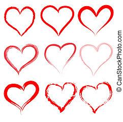 szív, valentines, kedves, vektor, piros, nap, piros