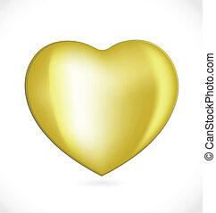 szív, valentines nap, arany, jel