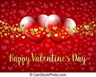 szív, valentines nap, háttér, piros, boldog