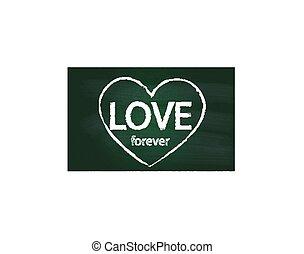 szív, valentines, szeret, chalkboard, jel
