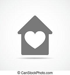 szív, vektor, belsőrész., ábra, épület