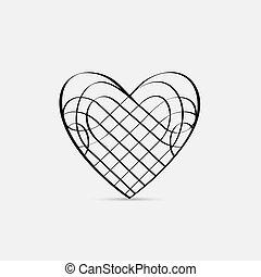 szív, vektor, calligraphic