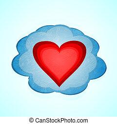 szív, vektor, háttér, cloud.
