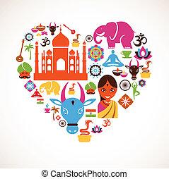 szív, vektor, india, ikonok