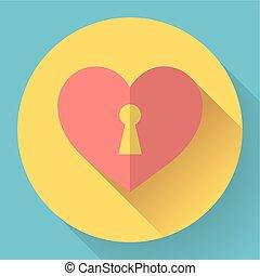 szív, vektor, kulcslyuk, ikon